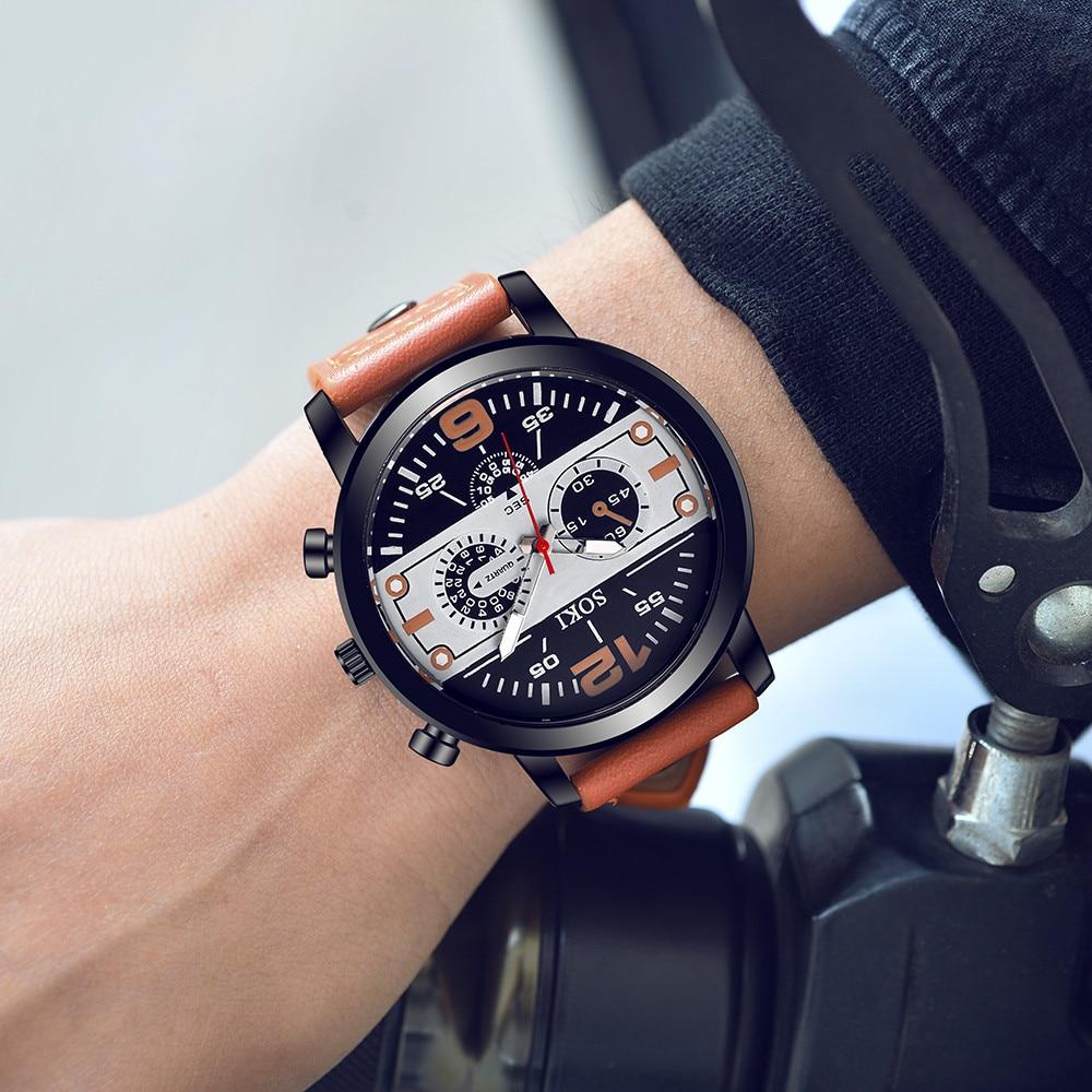 2021 New Couple Fashion Leather Band Analog Quartz Round Wrist Business men's watch zegarki meskie z