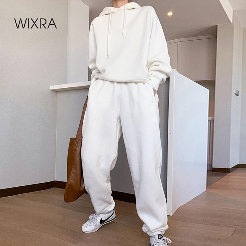 Wixra المرأة الأساسية القطن بلوزات مجموعات أوائل الربيع هوديس مرونة الخصر السراويل ملابس غير رسمية الشارع ارتداء