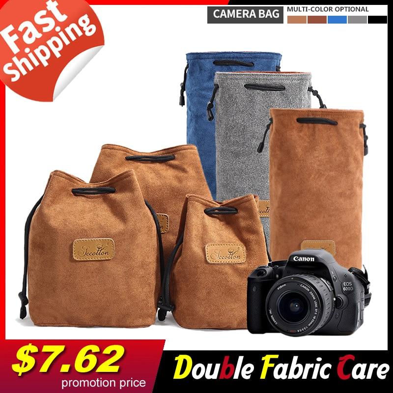 Multi-spec Cámara lente bolsa de almacenamiento de la Cámara bolsa de tela con cordón DSLR Cámara casos bolsa para Canon Nikon Sony Pentax FUJIFILM