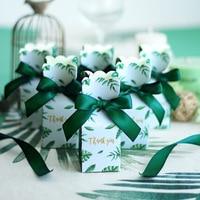 Подарочные коробки для конфет из зеленой бумаги, Свадебная подарочная коробка, сувениры на день рождения, вечерние ство, свадебные украшени...