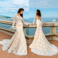 charming champagne mermaid lace long sleeve bridal wedding dresses backless sexy v neckline wedding gowns for bride 2021 new