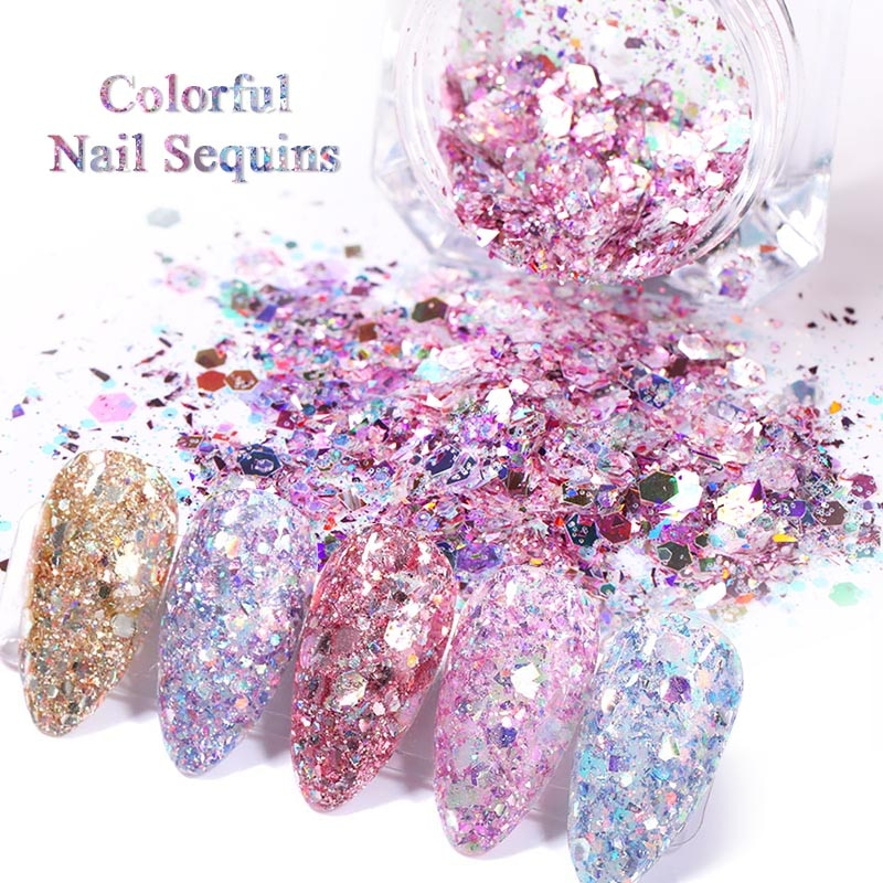1 Box Nail  Glitter Flakes Sparkly 3D Hexagon Colorful Sequins Spangles Polish Manicuring Nails Art Decorations недорого