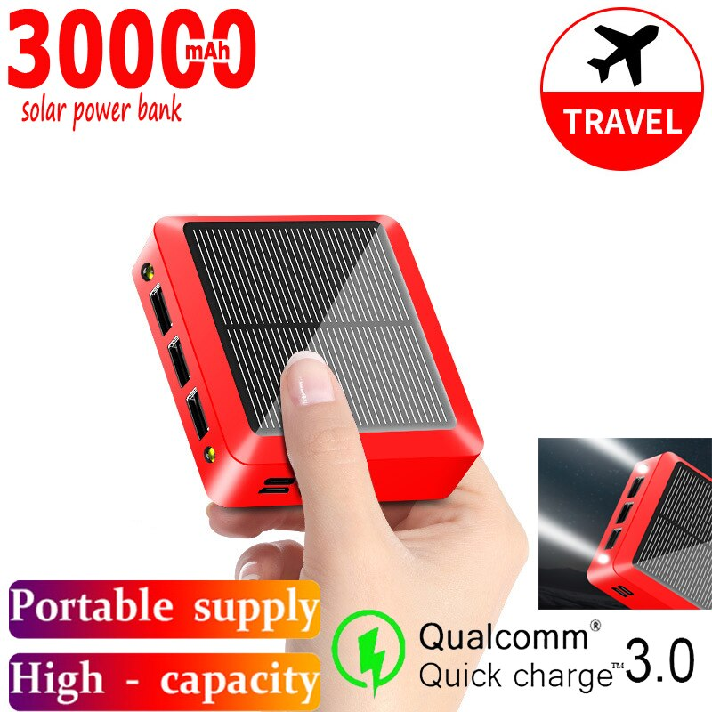 30000mAh Solar Power Bank with Triple USB Ports Mini Portable External Battery Fast Charging PoverBank for Xiaomi IPhone Samsung