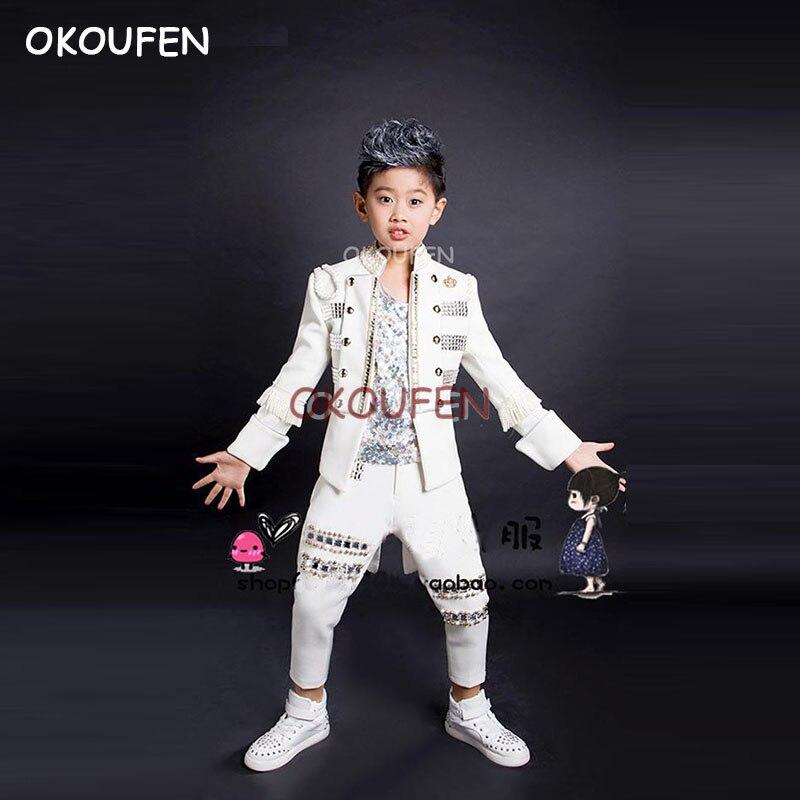 زي عرض الرقص في الشارع للأولاد ، بدلة سهرة مخصصة للبالغين والأطفال ، نموذج المغني الملكي