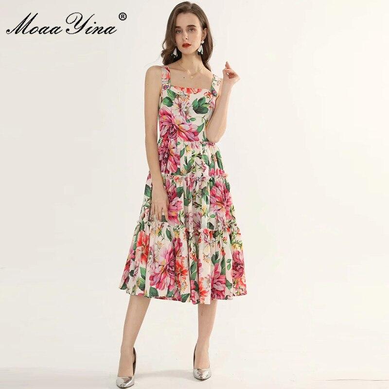 MoaaYina-فستان مصمم أزياء ، فستان صيفي نسائي ، طباعة الأزهار ، عطلة ، أحزمة سباغيتي