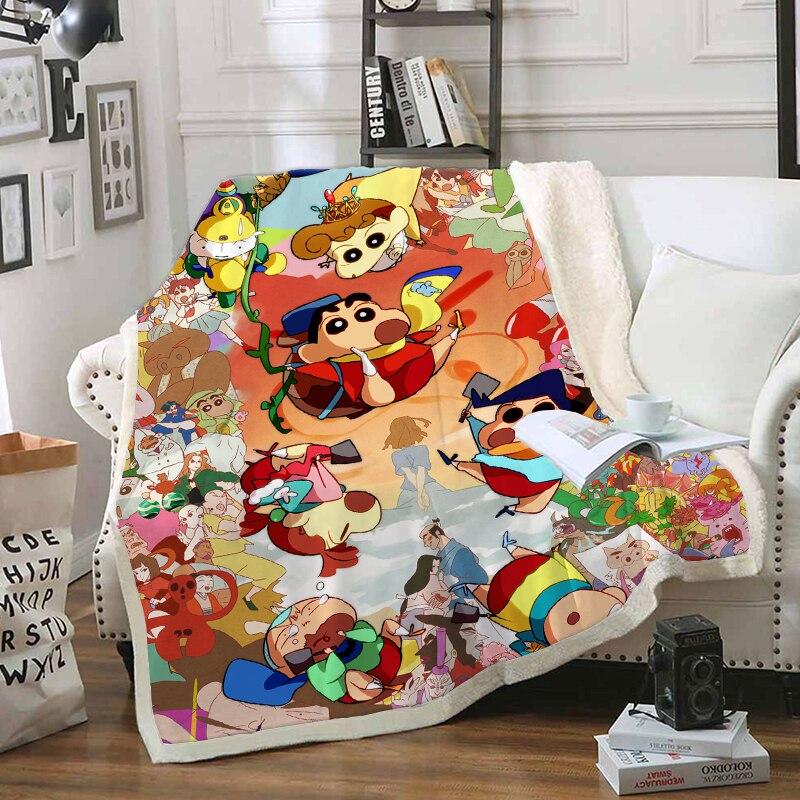 Anime crayon shin-chan personagem engraçado cobertor 3d impressão sherpa cobertor na cama têxteis para casa estilo dreamlike 05