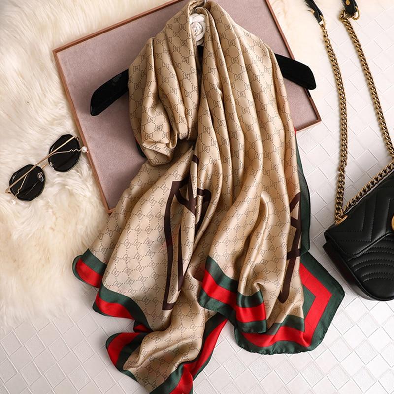 Design novo lenço de seda senhoras xale all-match impressão listrado turbante cachecol folme femme pashmina praia xale luxo