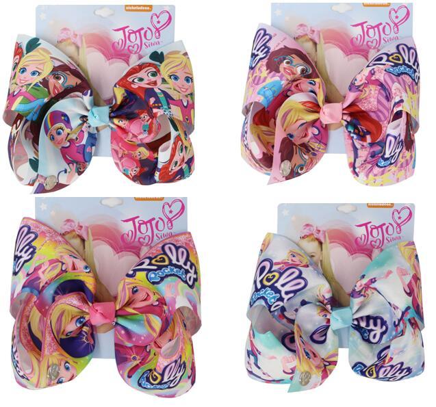 Nuevo Arco de pelo inspirado hecho a mano 7 pulgadas cinta de dibujos animados Bowknot pinzas para el cabello para niñas princesa Hairgrips niños niñas accesorios para el cabello