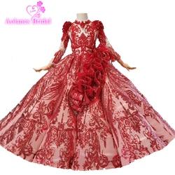 Puffy Red Santo Primeira Comunhão Da Menina de Flor Vestido de Mangas Compridas vestido de Baile Cristais Vestido Vestido Do Vintage Ondas Primera Comunion