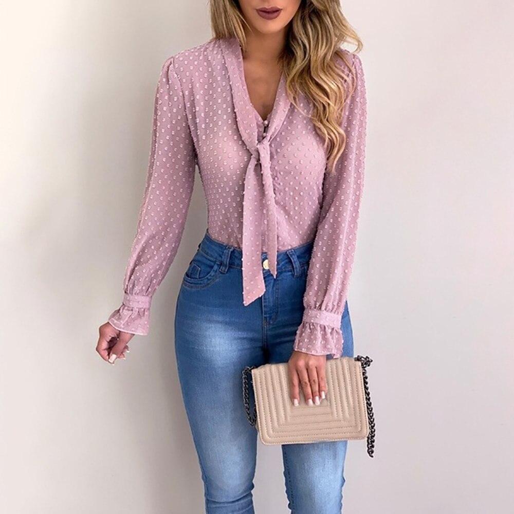Elegante gravata borboleta camisa feminina primavera outono senhoras sólido manga longa chiffon camisas blusas casuais do vintage topos blusas 2020 novo