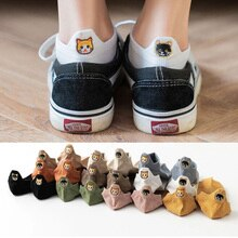 10คู่การ์ตูนแมวเย็บปักถักร้อยถุงเท้าสั้นผู้หญิงHarajuku Happyข้อเท้าถุงเท้าผู้หญิงผ้าฝ้ายตื้นปาก...