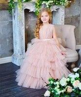 2021 tiered tulle princess dress floor length sleeveless a line kids prom dress ruffles long pageant gowns vestidos custom made