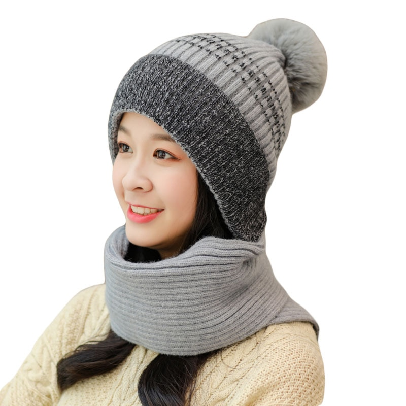 Зимняя шапочка-шарф в одном наборе теплая вязаная шапка с толстой вязки череп кепки для женщин зимние женские вязаные шапки 6 Цвета
