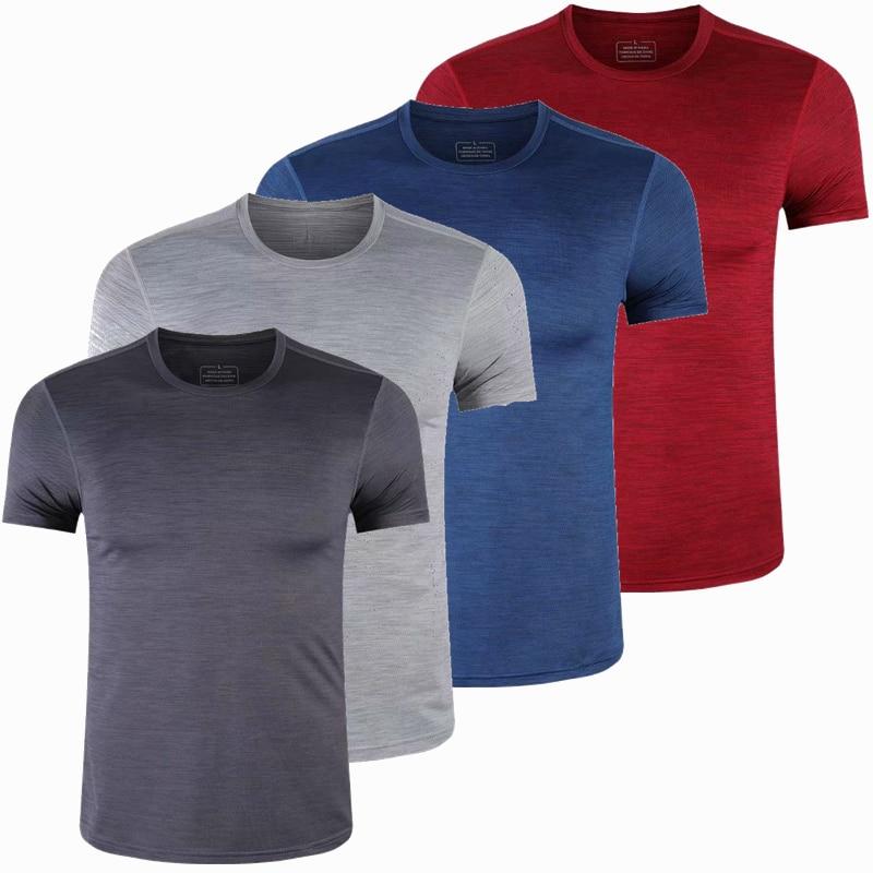 Camiseta deportiva de Spandex para gimnasio para hombre, camiseta de manga corta Dry Fit, camiseta elástica de compresión, Camiseta deportiva para entrenamiento, camiseta para correr, S-6XL