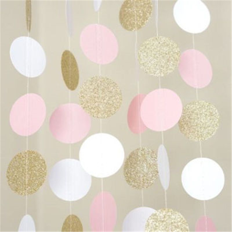 20 pieces 2M Glitter Circle Polka Pink White Gold Dots Happy Birthday Party Toys baby Hat Gift Garland baby toys