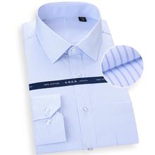 Plus size S tot 8xl Basical Puur Katoen Lange Mouw Vierkante kraag comfortabel strijkvrij easy care gestreepte solid mannelijke formele shirts