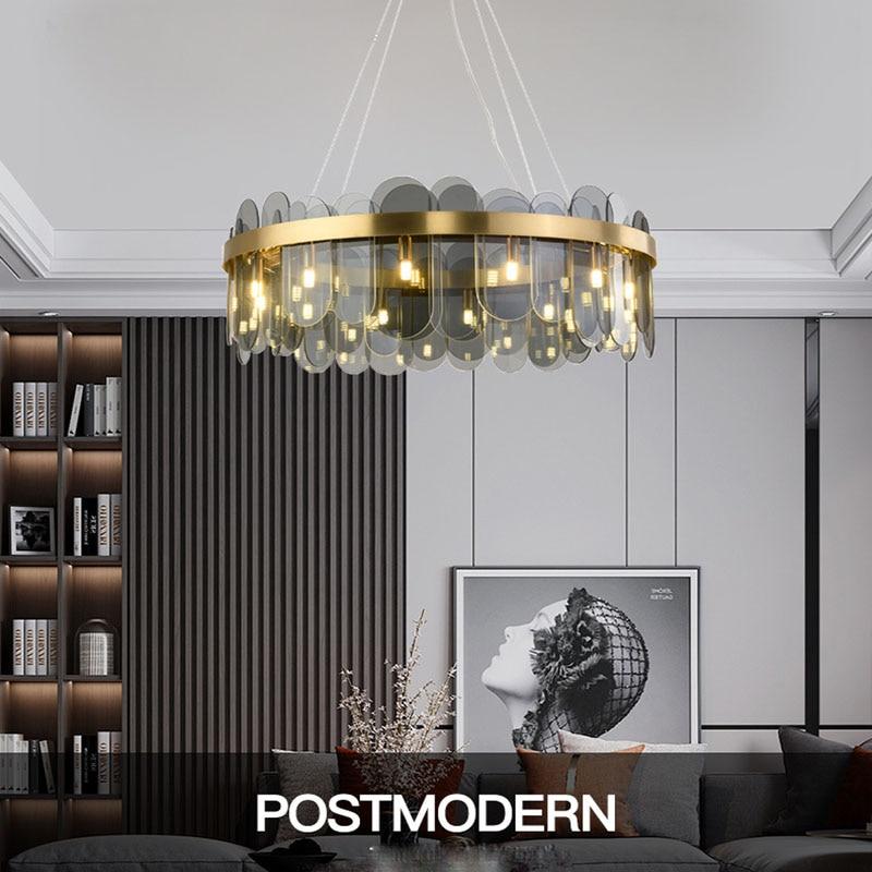 Modern crystal lamp living room ceiling bedroom LED chandelier villa hotel glass lighting light