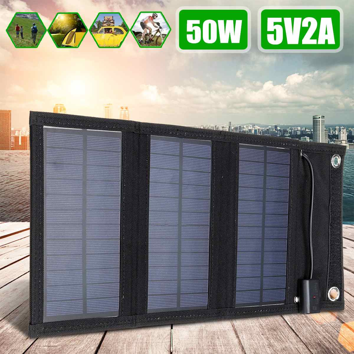 50W Foldable Solar Panel Sun Power Solar Cells 5V 2A USB Cable Portable Solar Charger Phone For Hiking Camping Phone Charge