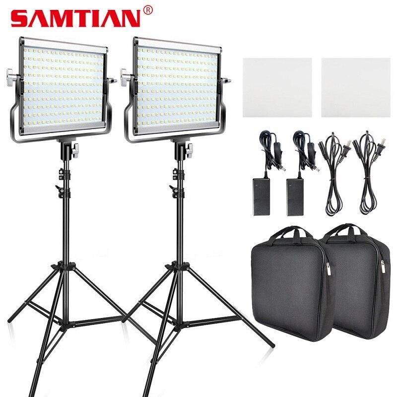 SAMTIAN Video Light L4500 2 Kit panel light Dimmable 3200K 5500K with tripod for studio YouTube photography lighting LED light