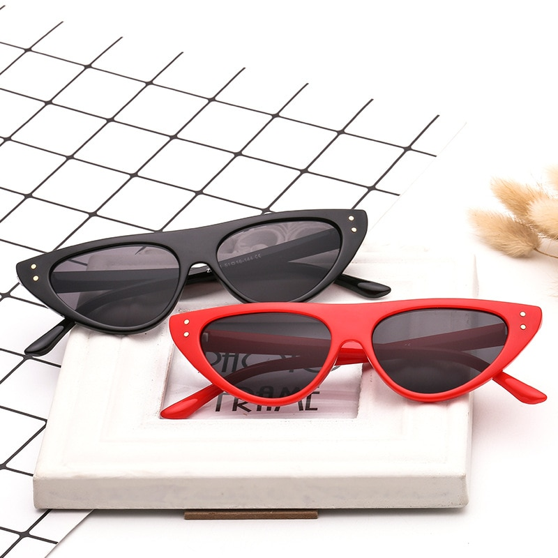 Cute Sexy Retro Cat Eye Sunglasses Women Small Red White Triangle Vintage Luxury Cheap Ladies Sun Gl