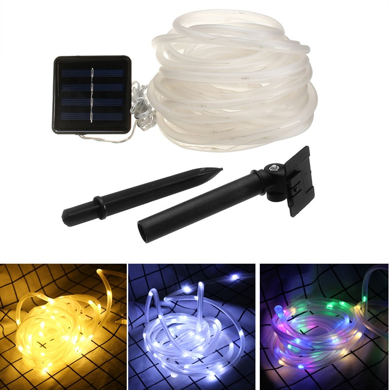 RGB Waterproof 100 LEDs 12M LED Outdoor Solar Lamps Rope Tube String Lights Fairy Holiday Christmas Party Solar Garden
