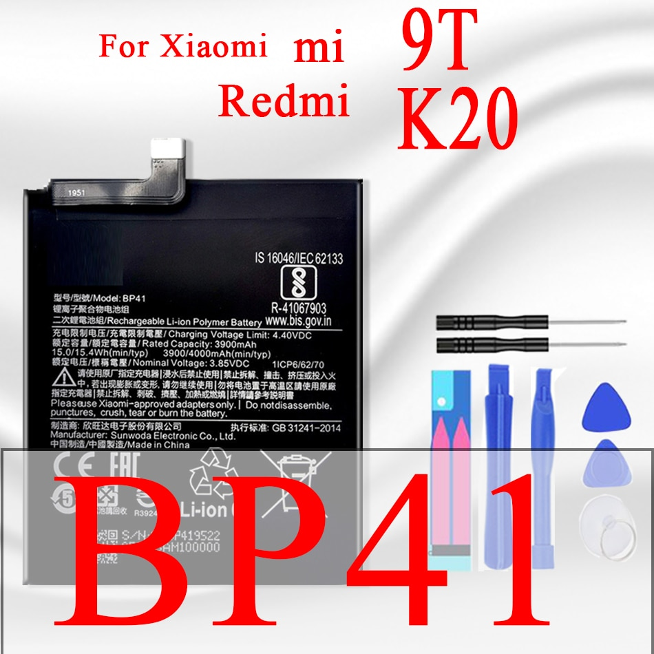 Bp41 100% original kikiss para xiao mi bateria do telefone para xiaomi redmi k20/mi 9t baterias de substituição para xiomi mi9t 4000mah