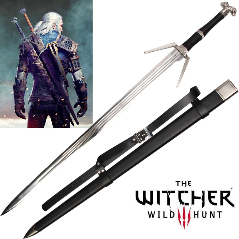 Juego espadas réplica Geralt de Rivia hoja Real acero inoxidable No afilada espada decorativa