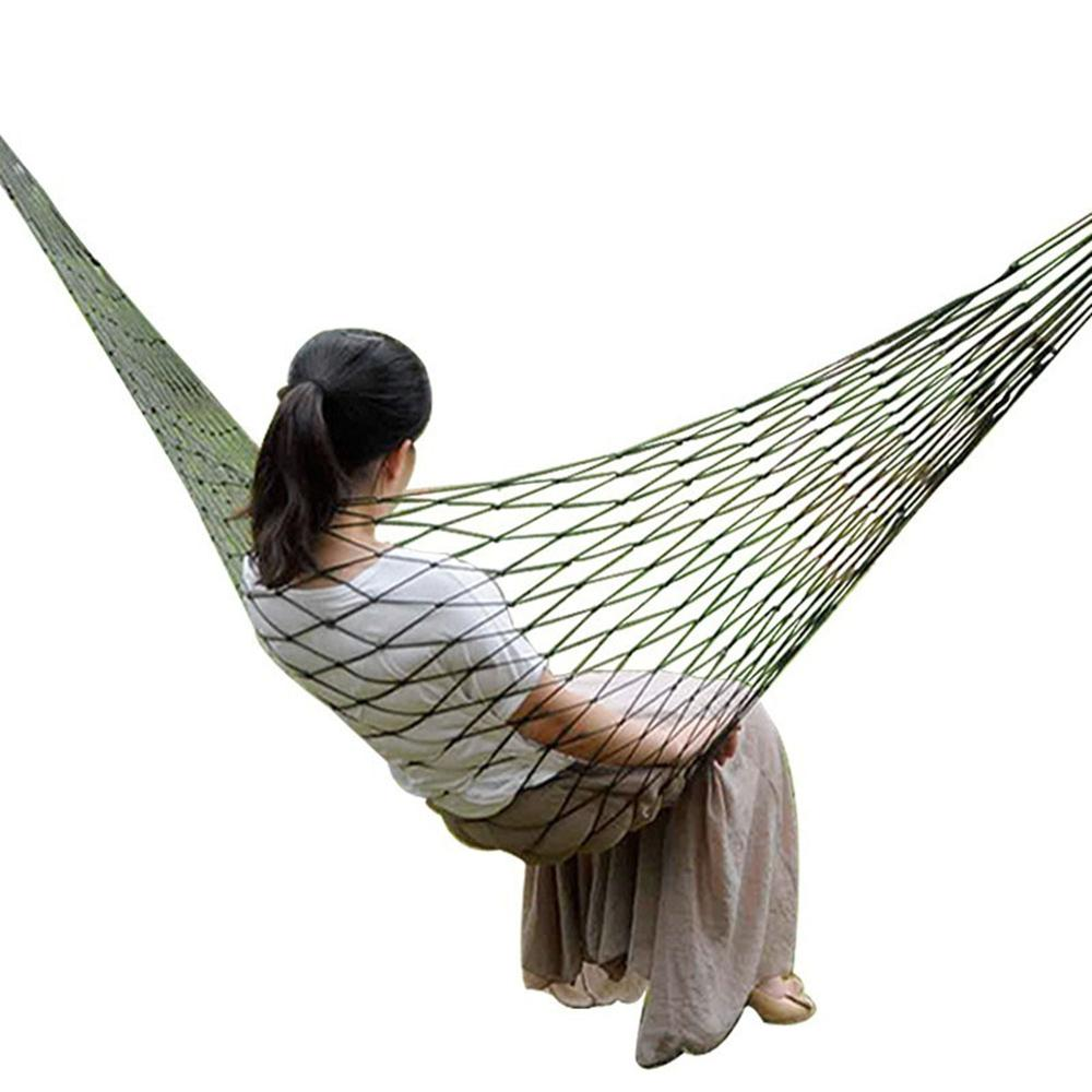 Portable Garden Nylon Hammock swing Hang Mesh Net Sleeping Bed rope mesh single hammock Bold nylon net