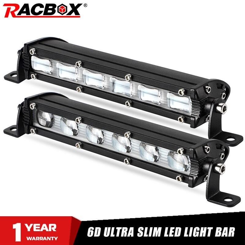 RACBOX 6D lente Ultra delgada 7 pulgadas barra Led fuera de carretera para coche Uaz 12V 24V Tractor Suv camión barco 4WD 4x4 ATV UTV 18W luces Led de trabajo