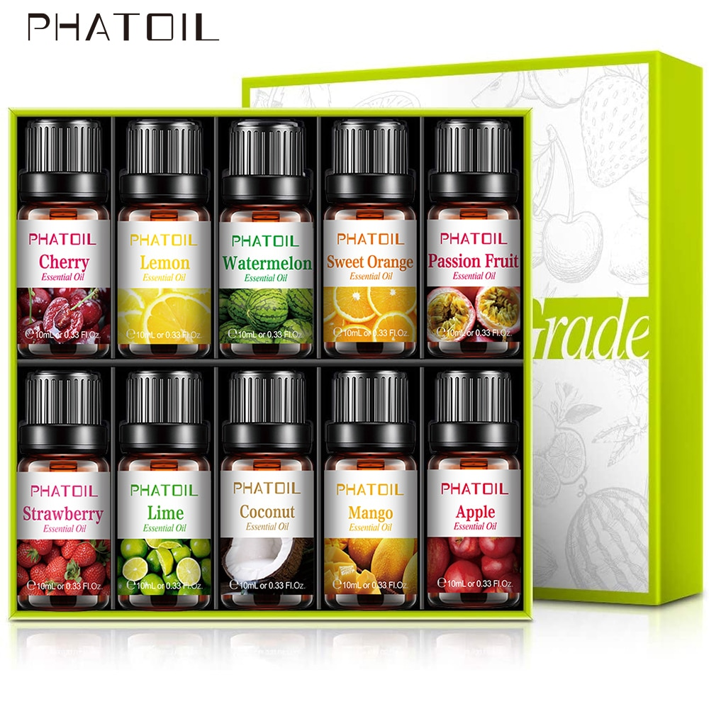 10pcs Fruit Fragrance Essential Oils Gift Set Strawberry Mango Watermelon Passion Fruit Coconut Flav