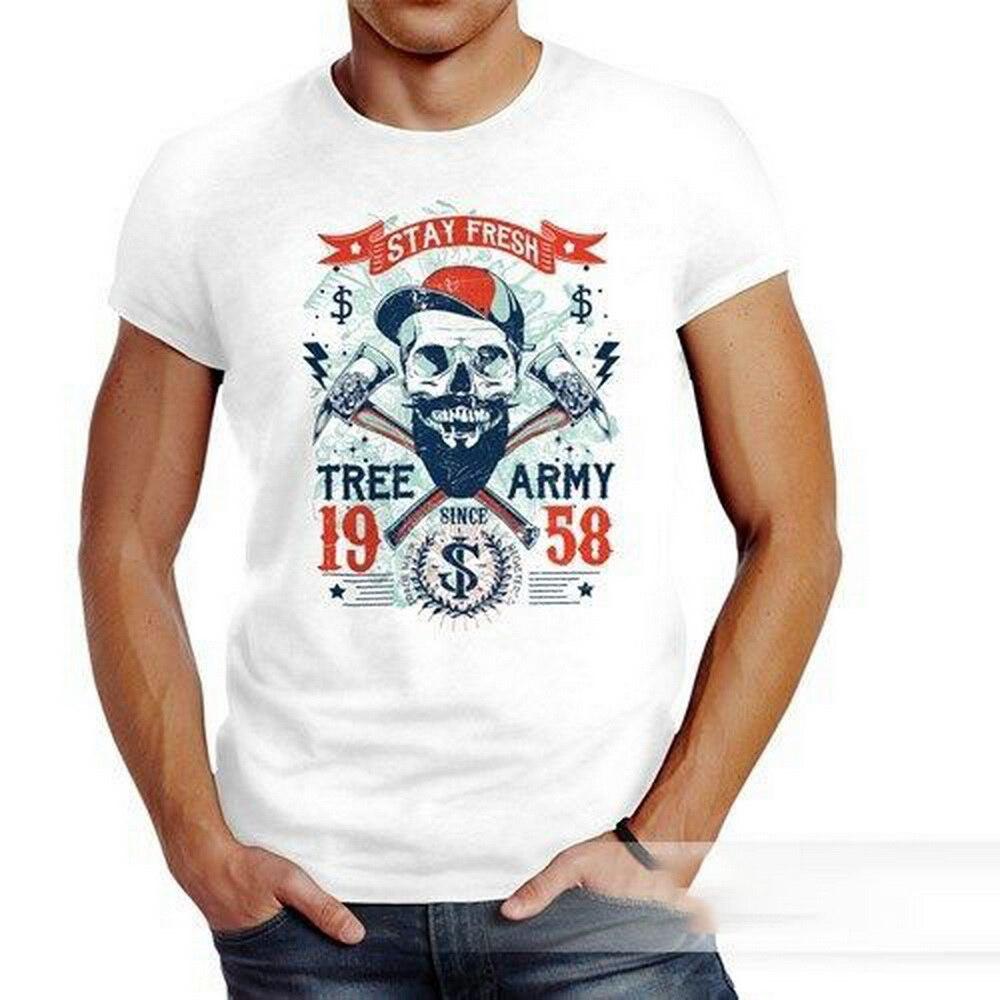 Camiseta Hipster moderno leñador Stay Fresh Skull Totenkopf algodón nuevo Unisex camisetas divertidas camiseta