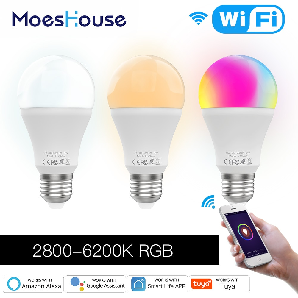 WiFi Smart LED Dimmable Lamp 9W,RGB C+W ,Smart Life Tuya App Remote Control Work with Alexa Echo Google Home E27