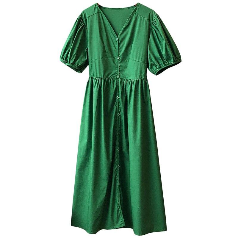 2021 Summer Green Dress Fashion V Neck Single Breasted Long Dress Korean Elastic Waist Short Sleeve Vintage Dresses Female 332#