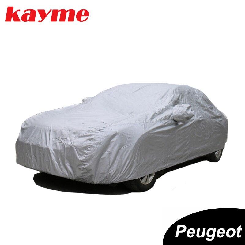 Cubiertas para coche entero Kayme, cubierta de poliéster, protección solar, resistente a los rayos UV, para interiores y exteriores, cubierta universal para Peugeot