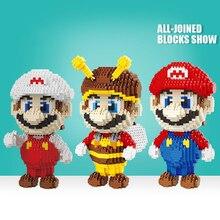 Micro blocs de construction pas Compatible Legoed Super Mario Bros Micro jouets dessin animé diamant Mini briques jeu enfants jouets enfants ensembles