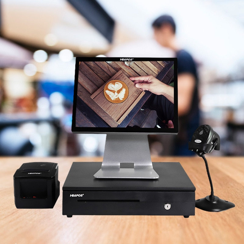 15'' capacitive touch screen Cash Register with thermal receipt printer barcode scanner cash drawer All in one Pos Systerm enlarge