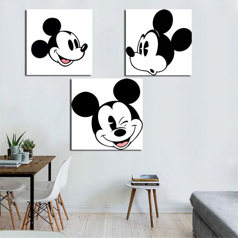 Impresiones pintura cuadros modulares 1panel blanco negro Mickey Mouse lienzo arte de la pared decoración del hogar moderno para niños Marco de póster
