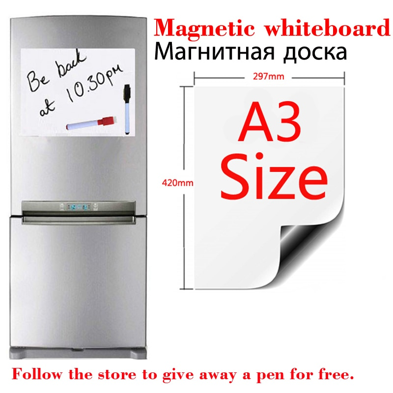 A3 Size Magnetic Whiteboard Dry Erase White Boards Soft Home Office Kitchen Flexible Pad Fridge Stickers Memo Message Board