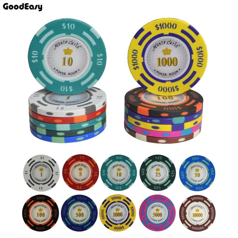 25 Teile/los texas holdem Ton Poker Chips Baccarat Gehobenen Set 14g Farbe Crown Monte Carlo dallors Casino poker chip set poker