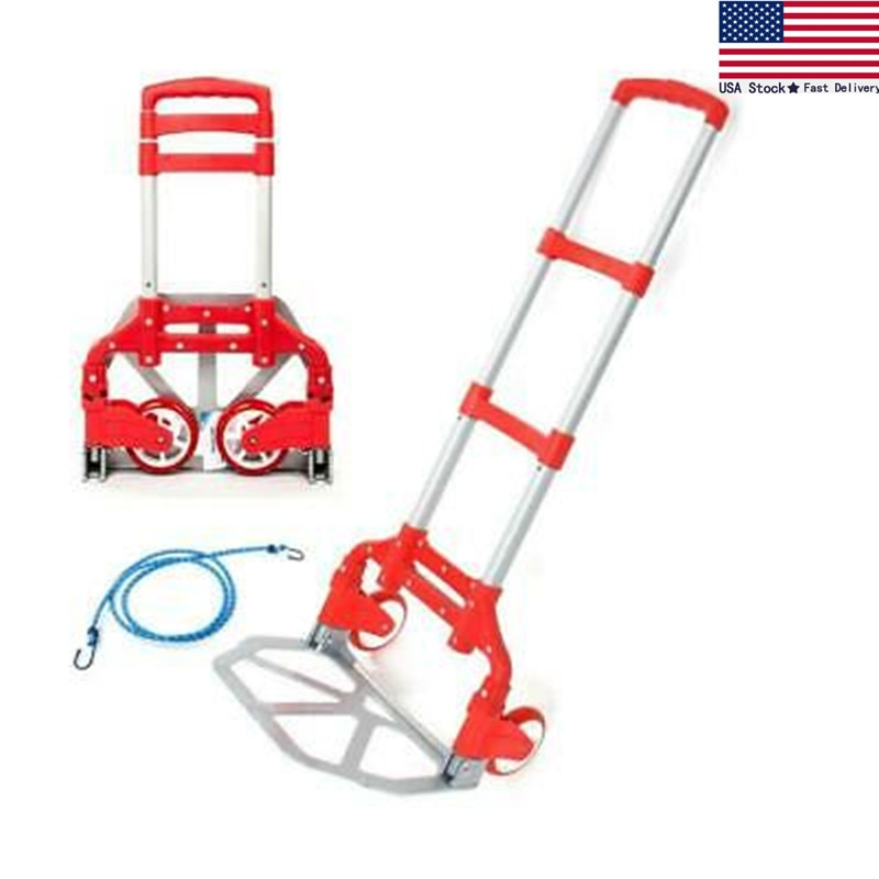 170lbs Cart Folding Dolly Truck Hand Collapsible Trolley Luggage Aluminium Red