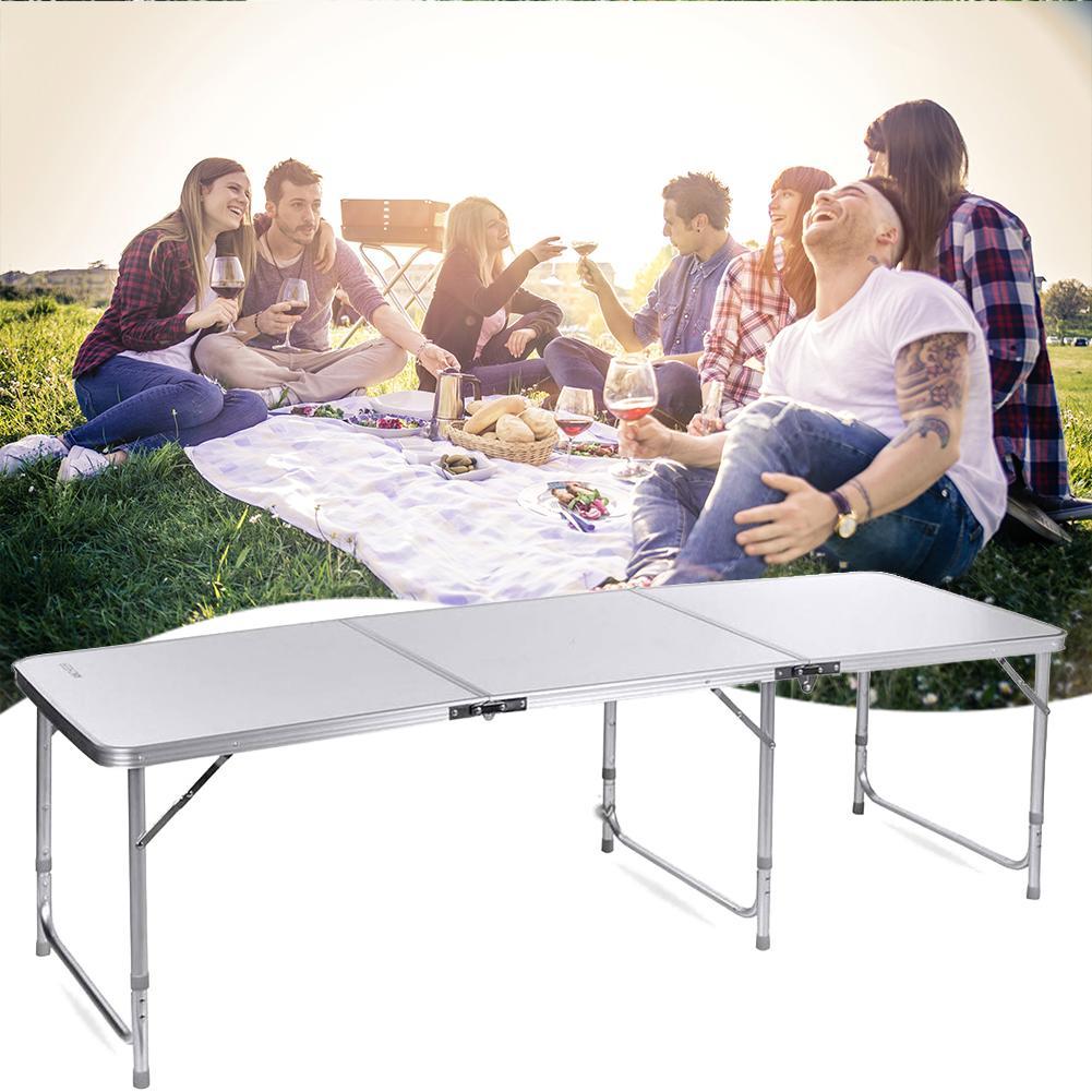 طاولة قابلة للطي للتخييم في الهواء الطلق ، طاولة ألومنيوم قابلة للطي للتخييم والتسلق والنزهات ، 180 × 60 × 70 سنتيمتر
