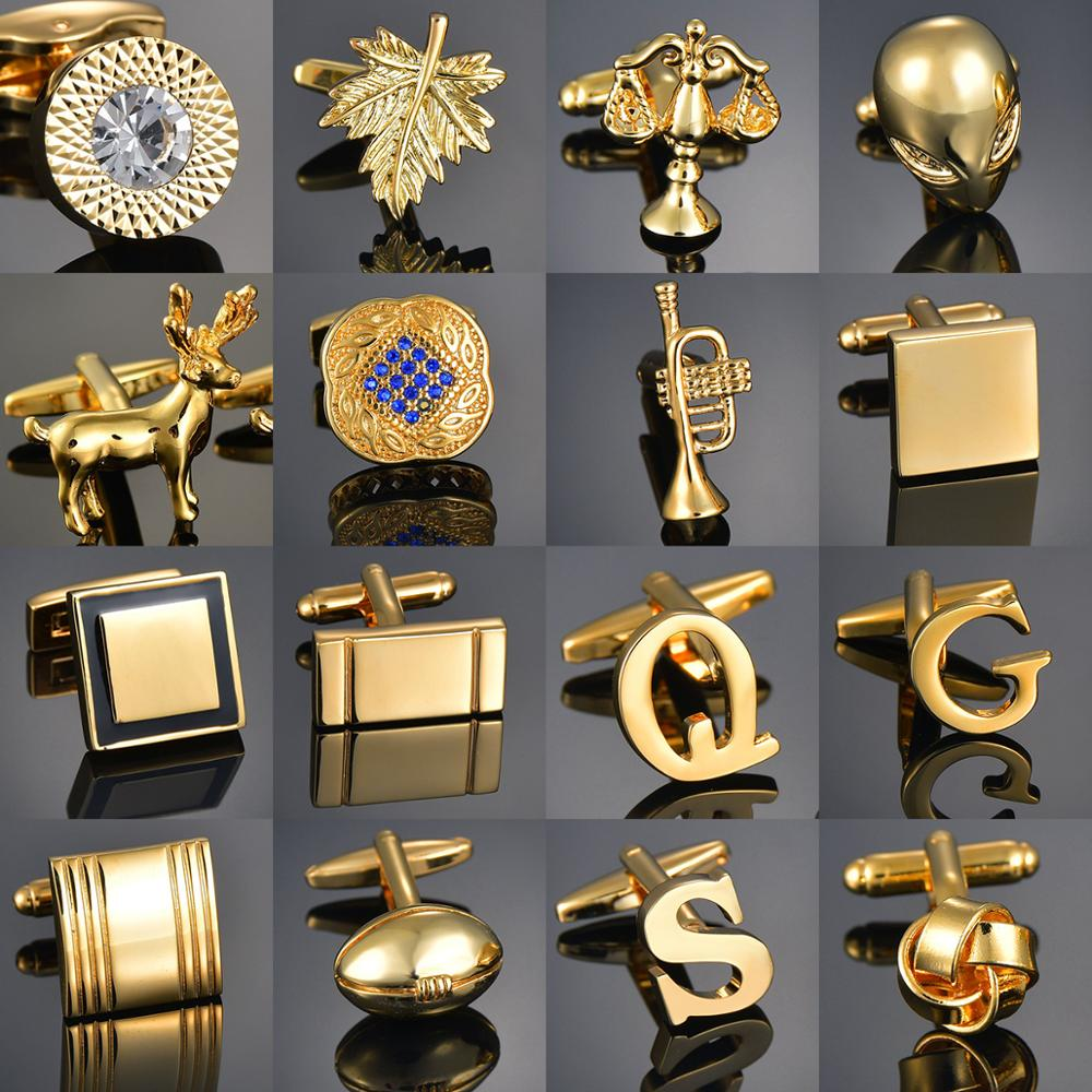 Quality Gold Color Cufflinks Letters/Alien/Square/Dragon/Maple leaves/Balance/Name Cuff Links for me