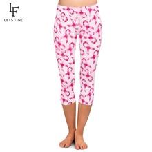 LETSFIND High Quaility Soft Milk Silk Pink Ribbon Print Women Fitness Capri Leggings High Waist Plus Size Stretch Leggings