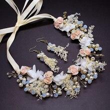 1 Set de luxe cristal mariage cheveux accessoires mariée cheveux bijoux fleur demoiselle dhonneur coiffure perle bandeau mariée casque