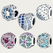 Winter 925 Sterling Silver  Multiple Color CZ Ocean Love Heart Beads charms fit Original Pandora Bracelets Women DIY Jewelry