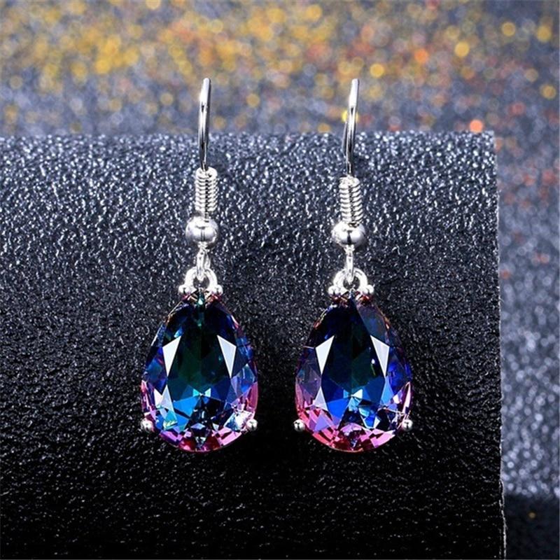 Pendientes de gota coloridos plata S925 piedra preciosa arcoíris de Bizuteria amatista para mujeres orecchini oorbellen aretes de mujer