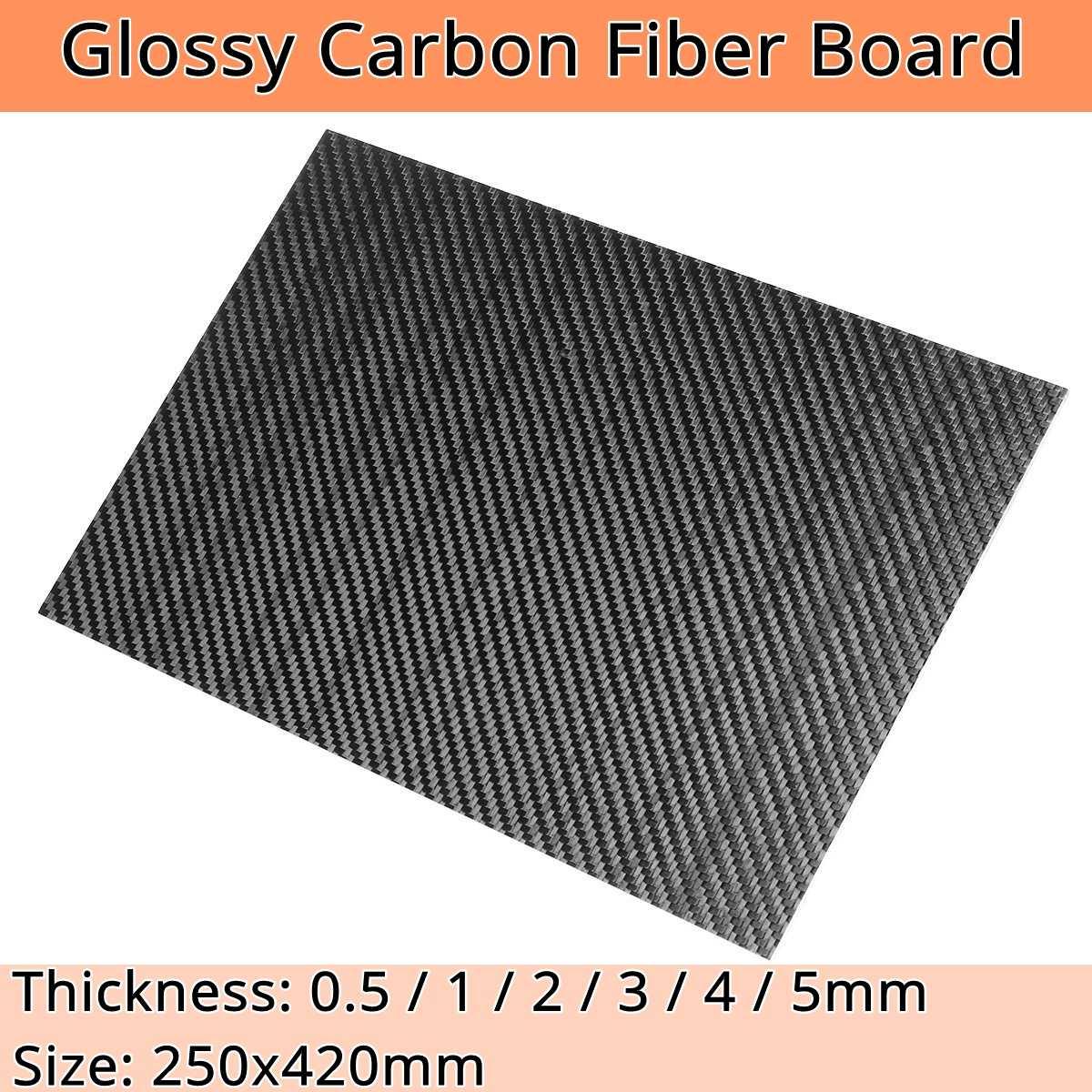 Nuevo 420x250mm 0,5mm 1mm espesor 2mm de fibra de carbono Real de hojas de Panel de Alta de dureza Material para RC