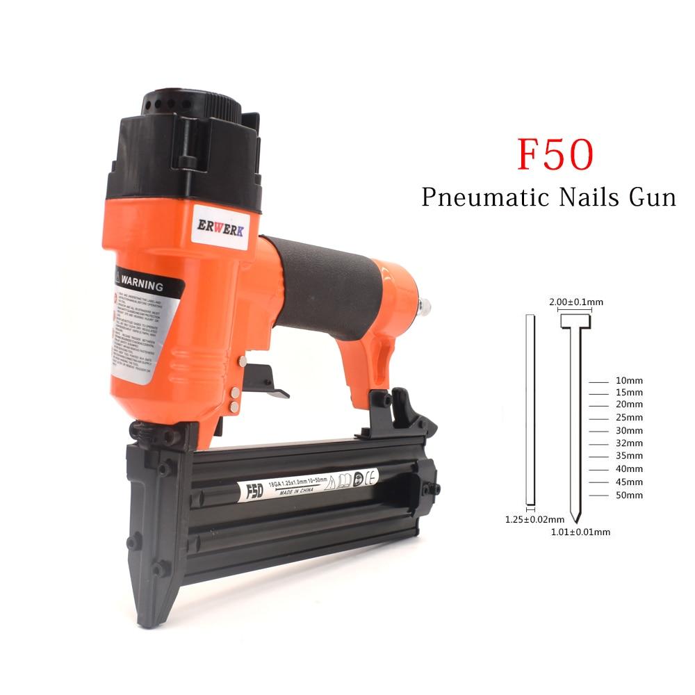 F50 Pneumatic Nails Gun Set 3/4 Inch To 2 Inch 18Ga Air Brads Nailer Gun For Woodworking