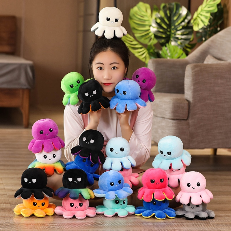 20cm Flip octopus doll Flip octopus doll Cute octopus table toy Double-sided flip doll