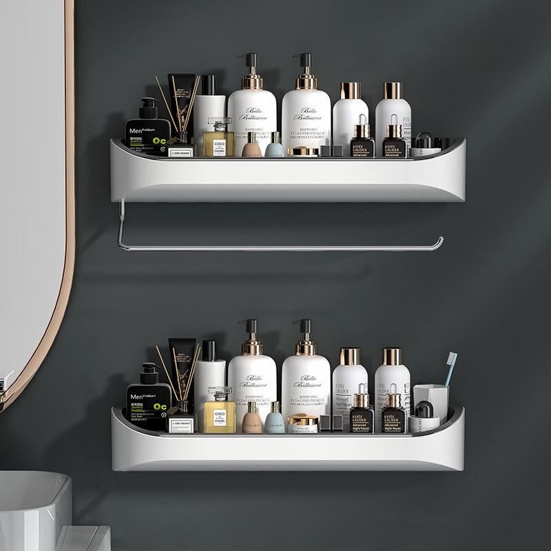 منظم جداري للحمام ، رف تخزين مع منشفة بار دوارة ، منظم مطبخ ، إكسسوارات حمام منزلية